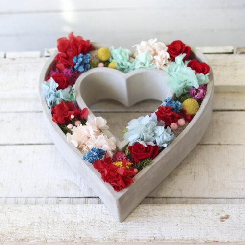 corazon de flor preservada