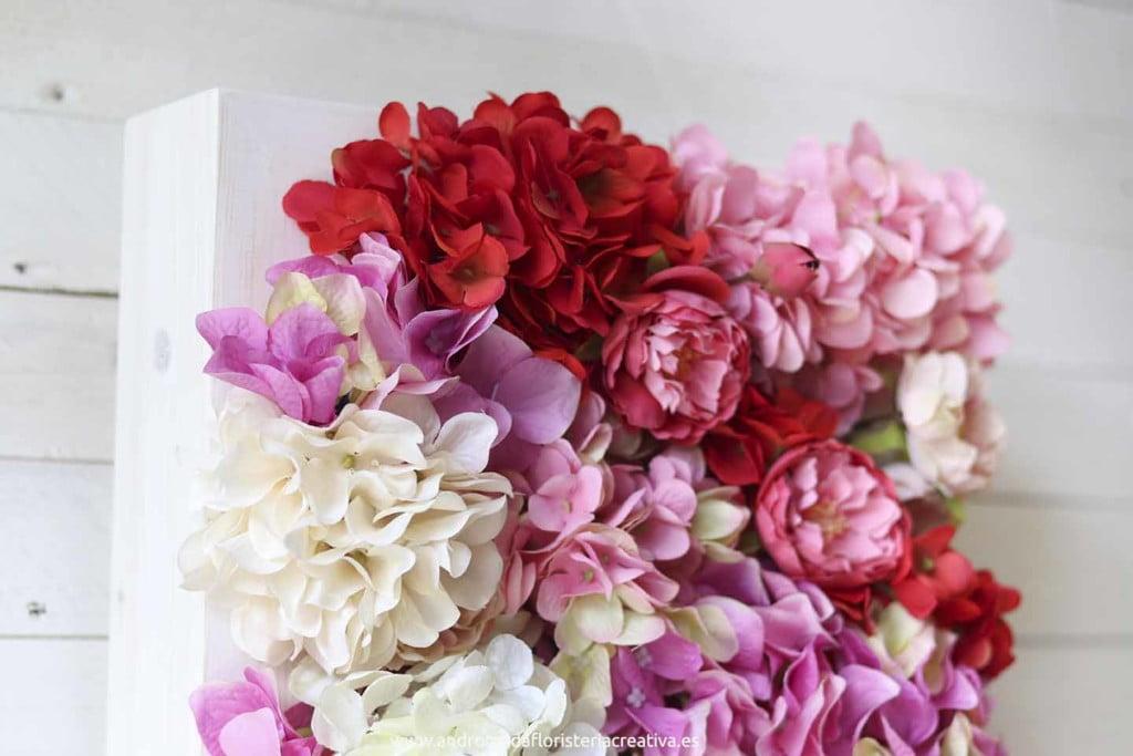 cuadro jardín vertical hortensias